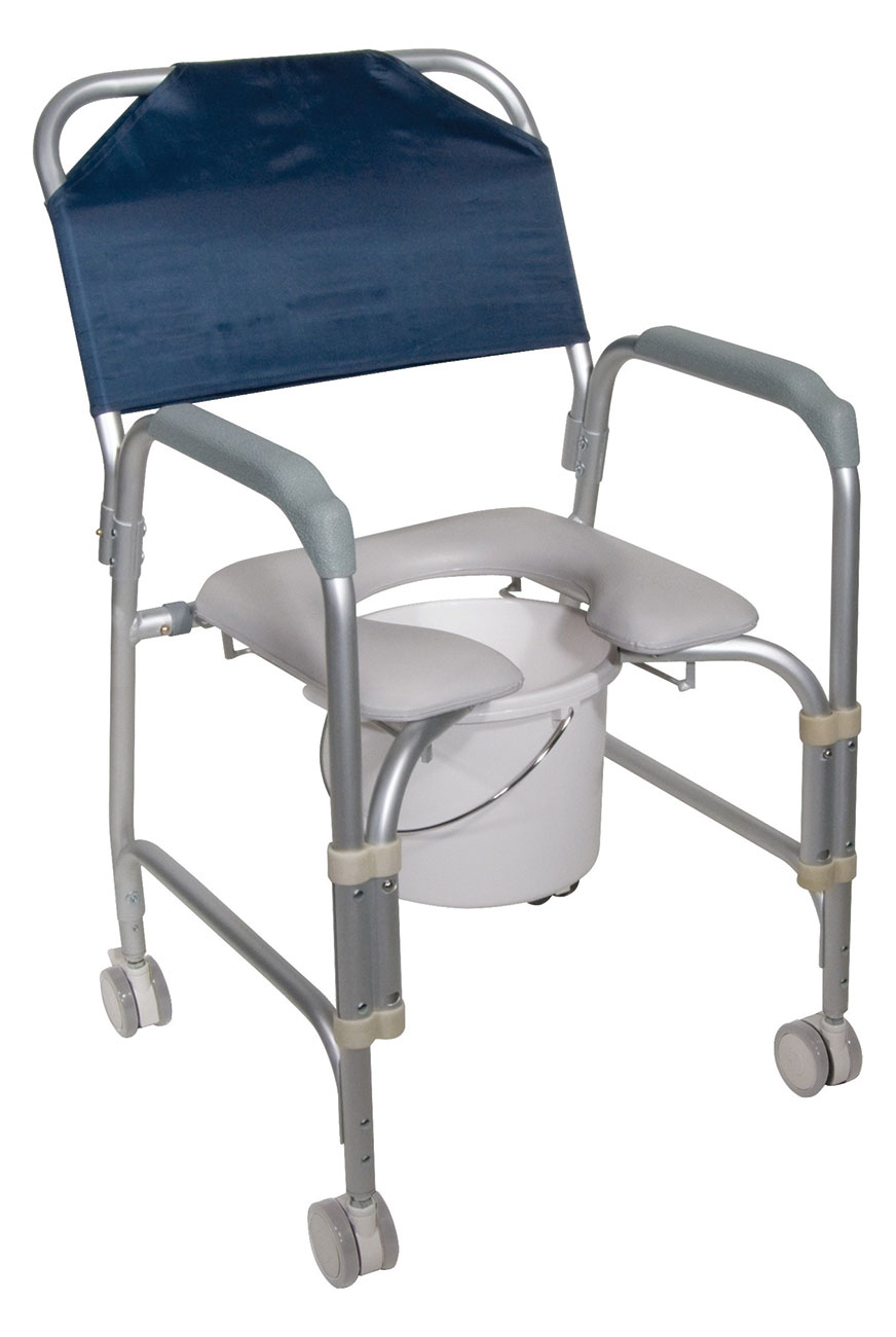 Aluminum Shower Chair-Commode with Caster