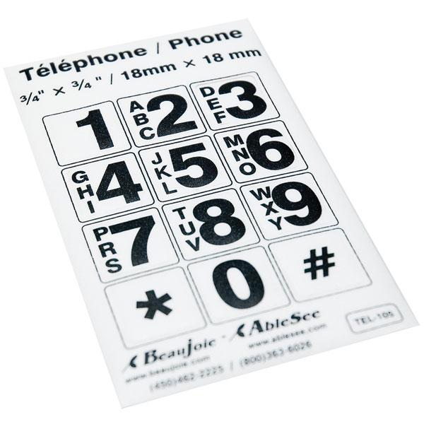 Telephone Stickers - Black on White - Alphanumeric