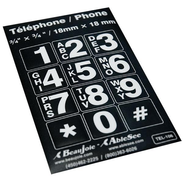 Telephone Stickers - White on Black - Alphanumeric
