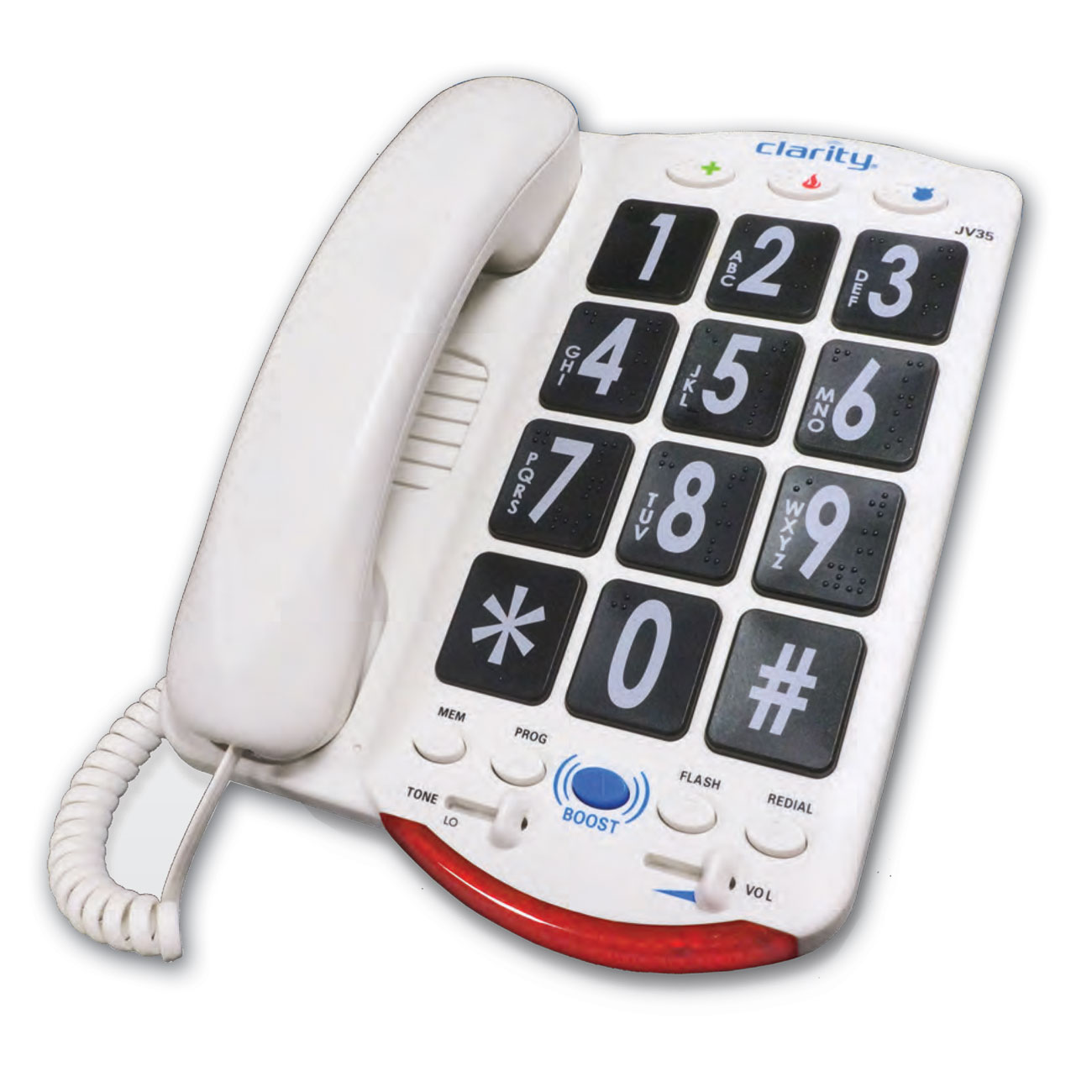 Clarity JV35 50dB Amplified Telephone with Talk Back - Black Buttons