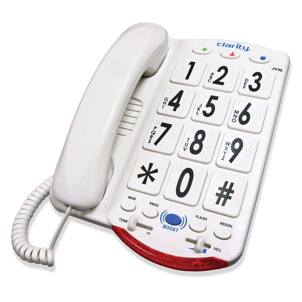 Clarity JV35W 50dB Amplified Telephone with Talk Back - White Buttons