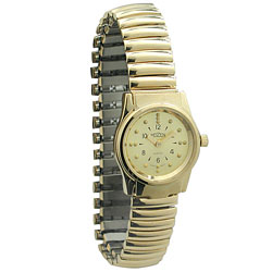 REIZEN Braille Gold-Tone Womens Watch with Exp. Band