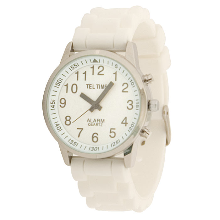 Ladies Touch Talking Watch - Large Face - White Rubber Band - Spanish