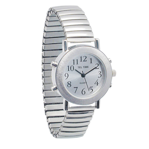 Ladies Tel-Time Chrome Talking Watch with Silver Face - Expansion Band