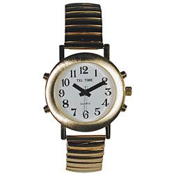 Ladies Tel-Time Talking Watch-Gold-Toneen-White Dial-Ex