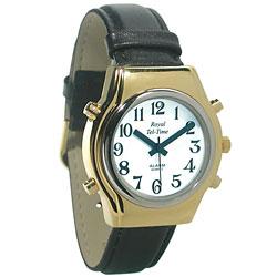 Mens Royal Tel-Time Bi-Color Talking Watch - White Dial - Leather Band