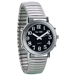 Tel-Time Mens Chrome Talking Watch - Black Face, Expansion Band
