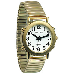 Mens Tel-Time Gold-Tone-Colored Talking Watch with White Dial-Expansion Band
