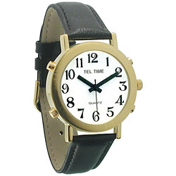 Mens Tel-Time Gold-Tone-Colored Talking Watch with White Dial-Leather Band