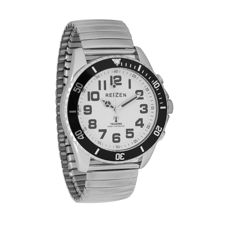 Reizen Talking Atomic Watch - White Face-Black Dial-Expansion Band