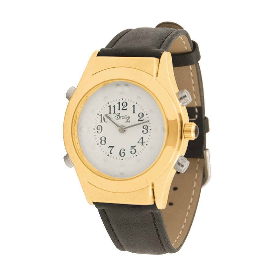 Mens Gold Braille Talking Watch-Spanish-White Dial + Leather Band