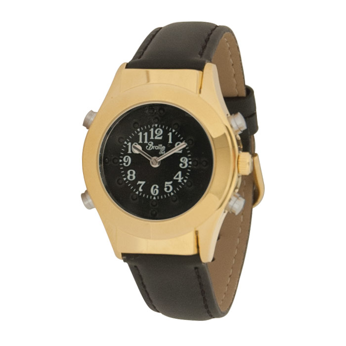 Womens Gold Braille Talking Watch-English-Black Dial + Leather Band
