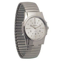 Mens Chrome Braille and Talking Watch - Exp Band