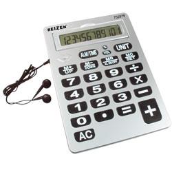 Reizen 12-Digit Jumbo Talking Calculator w-Earbuds