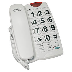 REIZEN Big Button Speaker Phone - White with Black Numbers