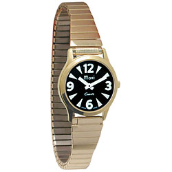 Ladies Gold-Tone Watch, Black Face, Expansion Band