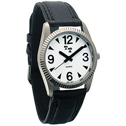 Tel-Time Low Vision Mens Watch with Leather Band and White Dial