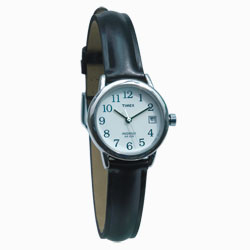 Timex Indiglo Watch Ladies Chrome with Leather Band
