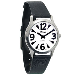 Mens Chrome, Low Vision Watch - White Face, Leather Band