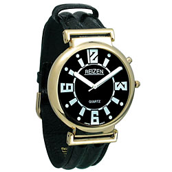 Reizen Low Vision Watch- Black Dial w-Leather Band
