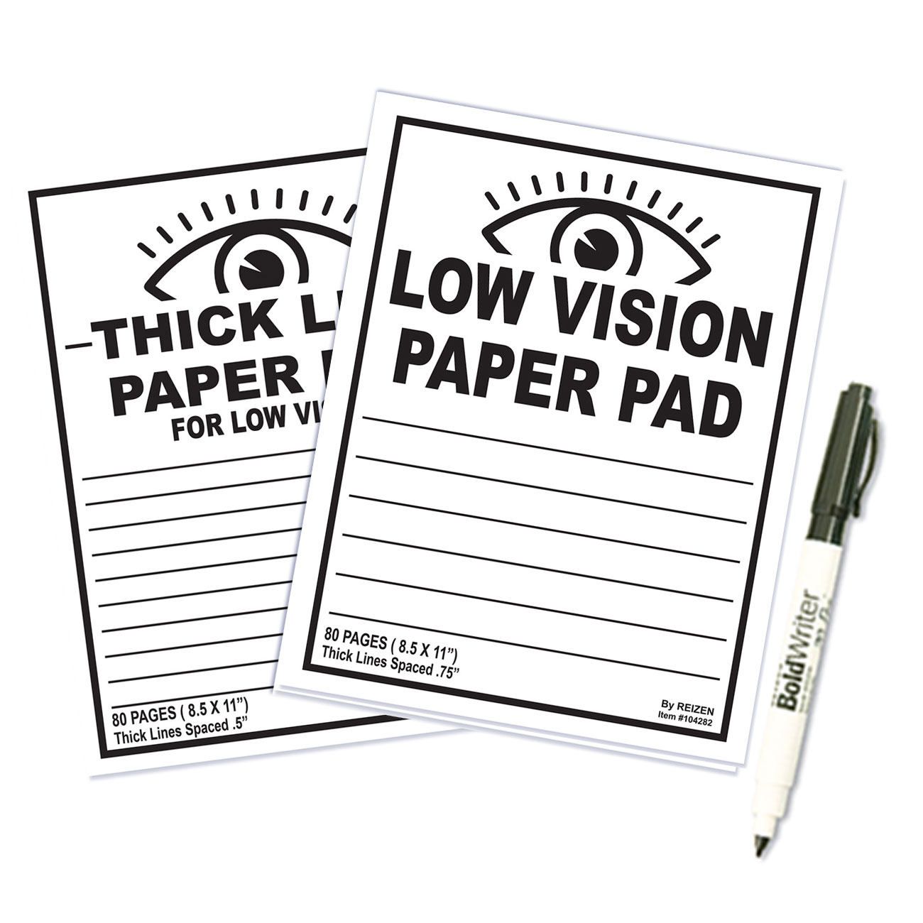 Thick Line Paper Notebook and Low Vision Paper Notebook - Set of 2