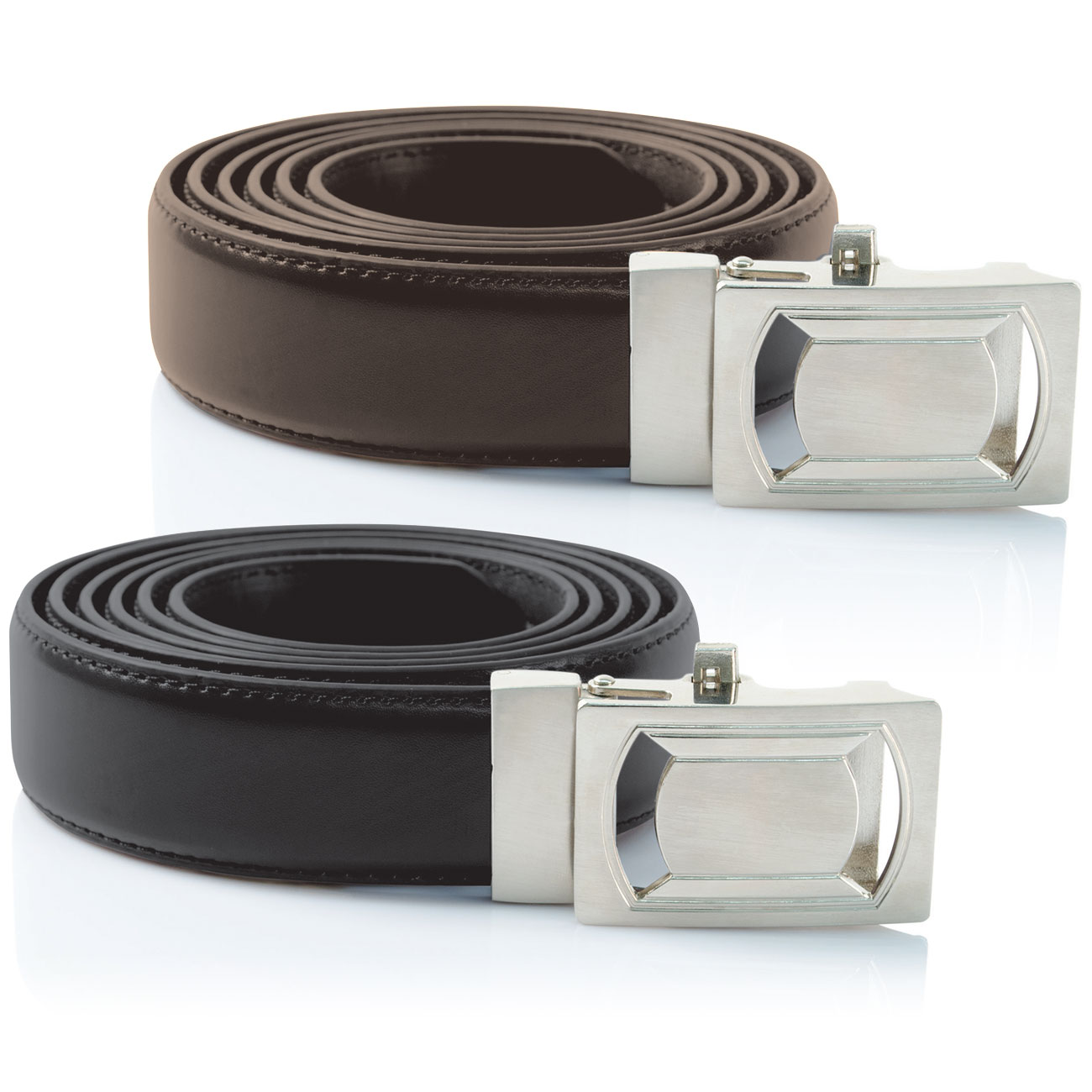 Ideaworks Custom Fit Belts - Black + Brown 2-Pack