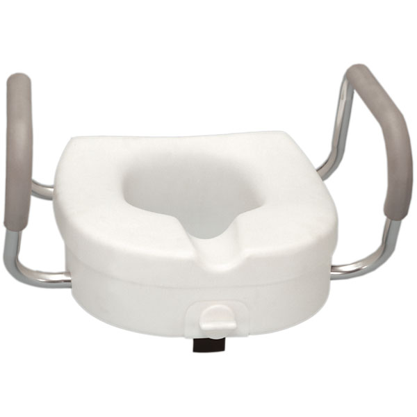 Raised Toilet Seat with Padded Armrest