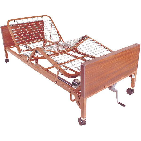 Semi Electric Bed with Full Length Side Rails and Pkg