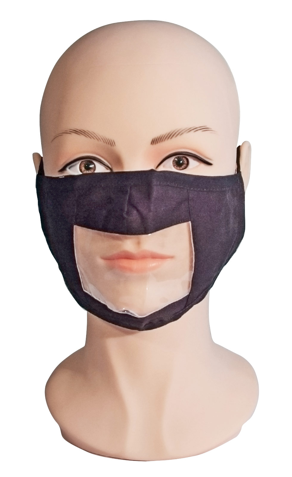 Black Reusable and Washable, Face Mask with Clear Window