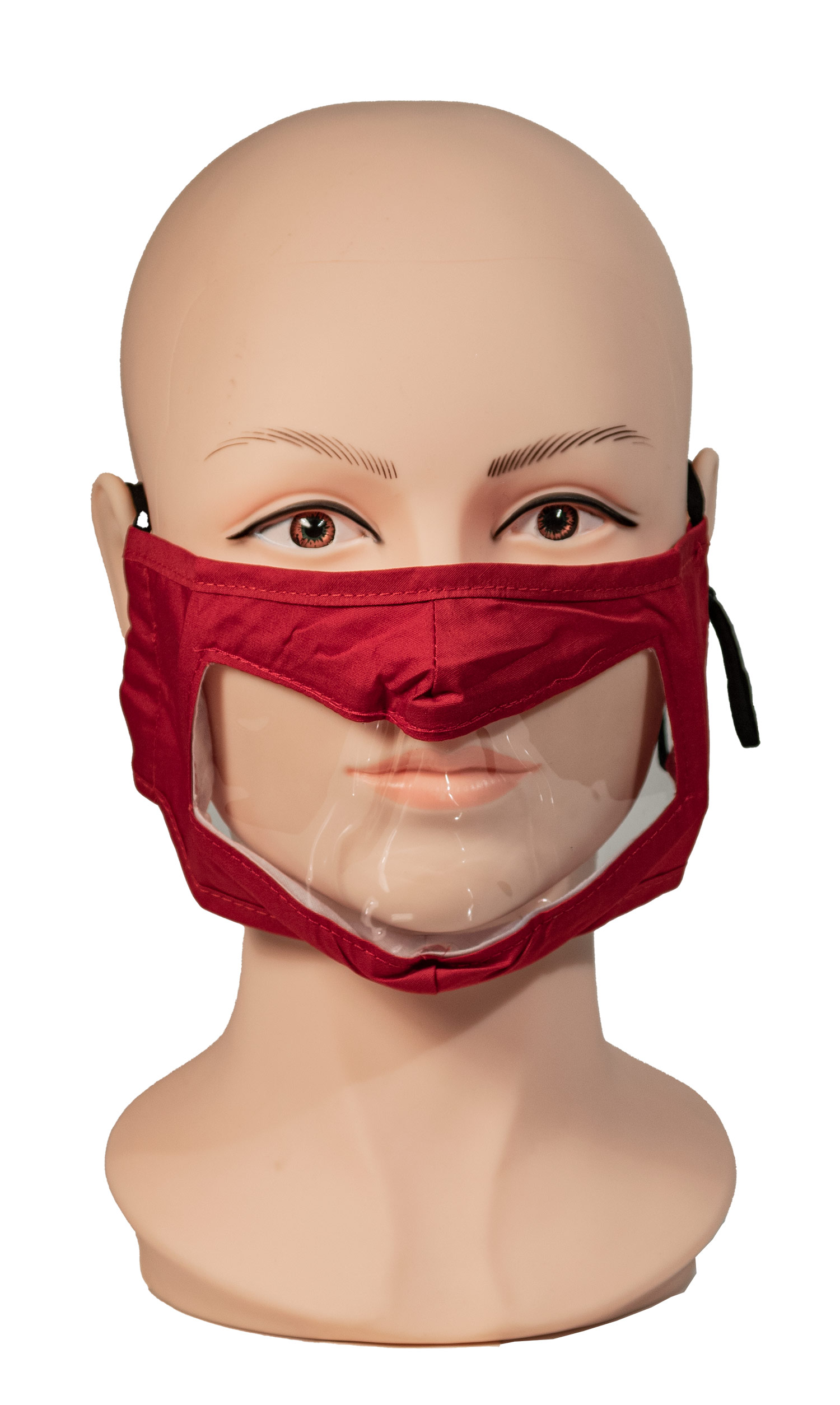 Red Reusable and Washable, Face Mask with Clear Window