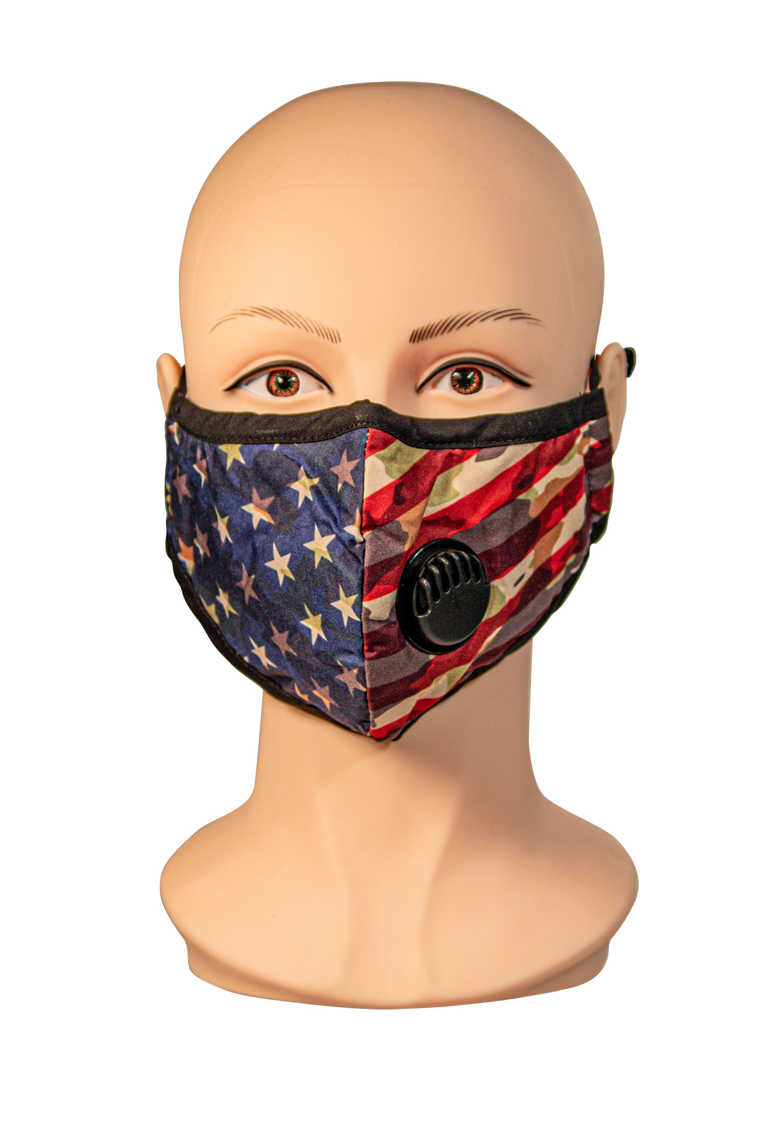 Patriotic camo pattern Face Mask with Filter vent