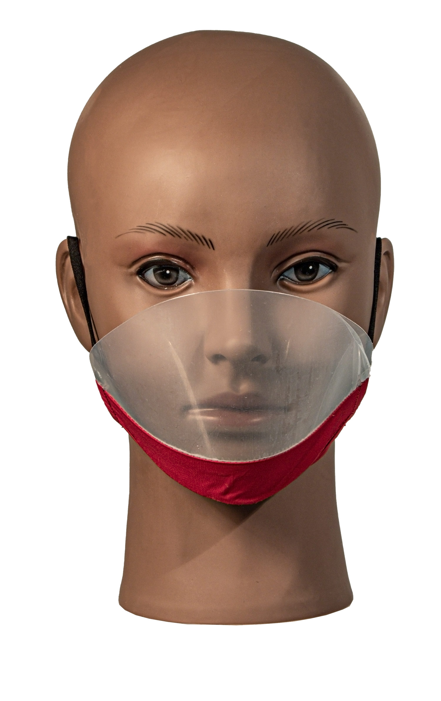 Deaf Mute transparent Facemask with Anti-fog RED