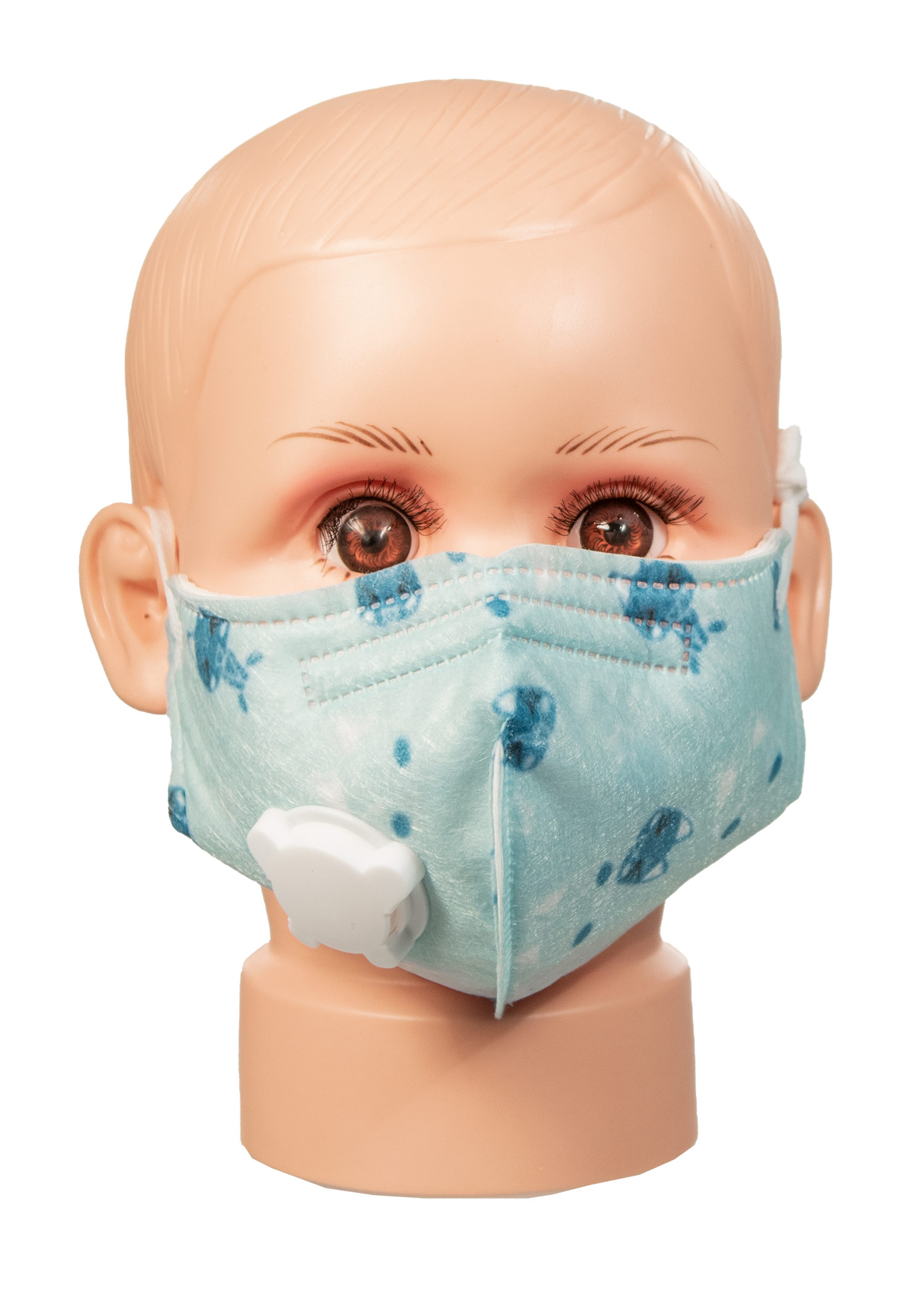 Patterned Childrens Cotton Face Mask with Vent- Blue