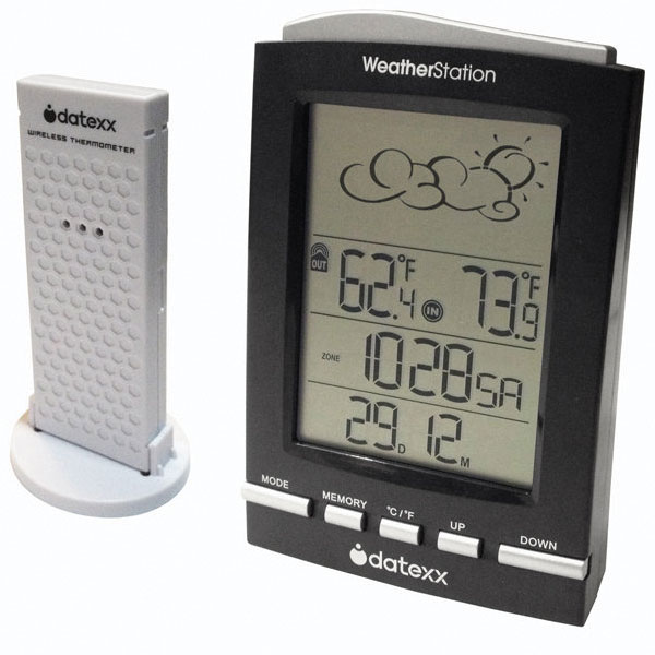 WeatherStation Clock with Indoor-Outdoor Thermometer