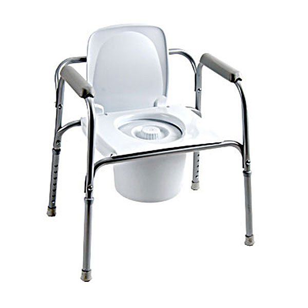 All-In-One Aluminum Commode with Back