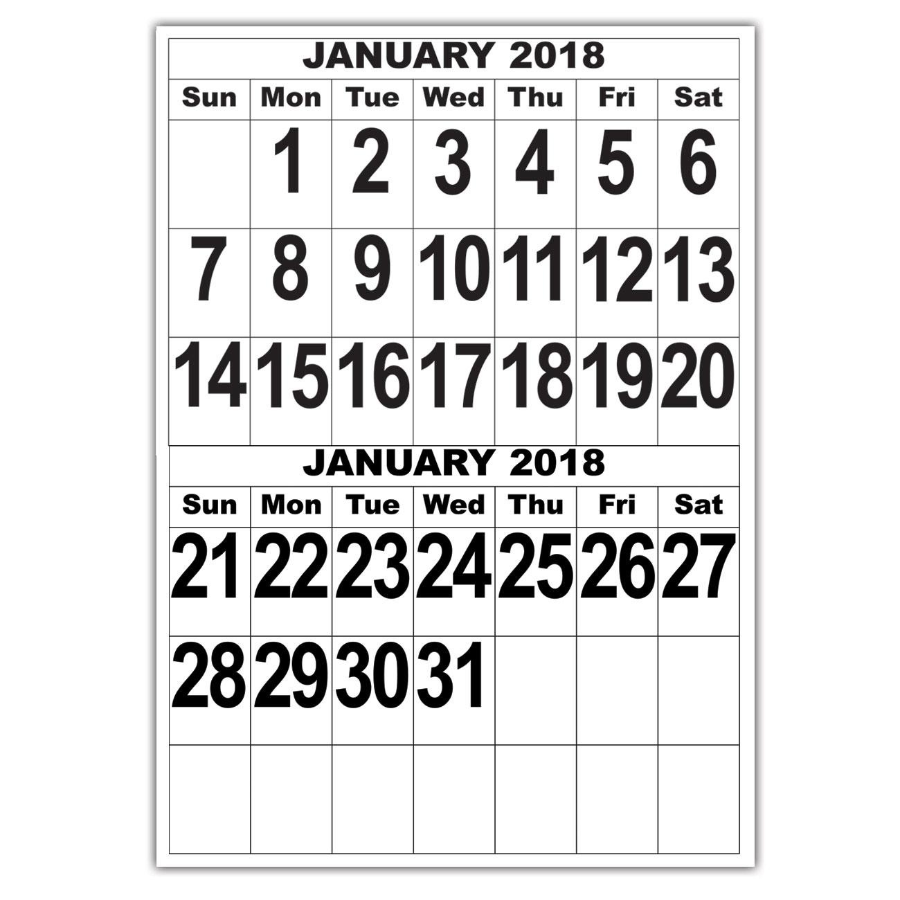 Giant Print Calendar - 2018