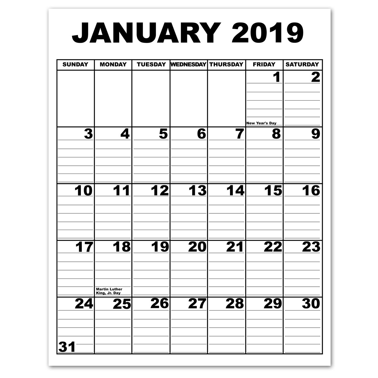 Giant Appointment Calendar 2019 - CLOSEOUT