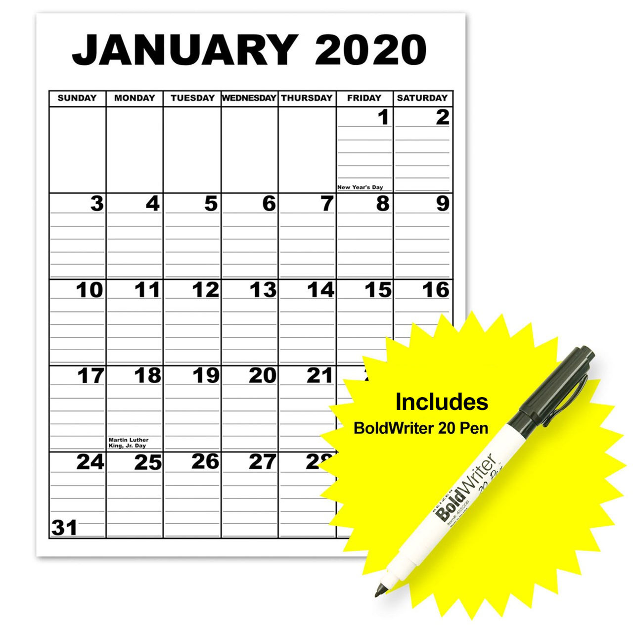 Giant Appointment Calendar 2019 with BoldWriter 20 Pen