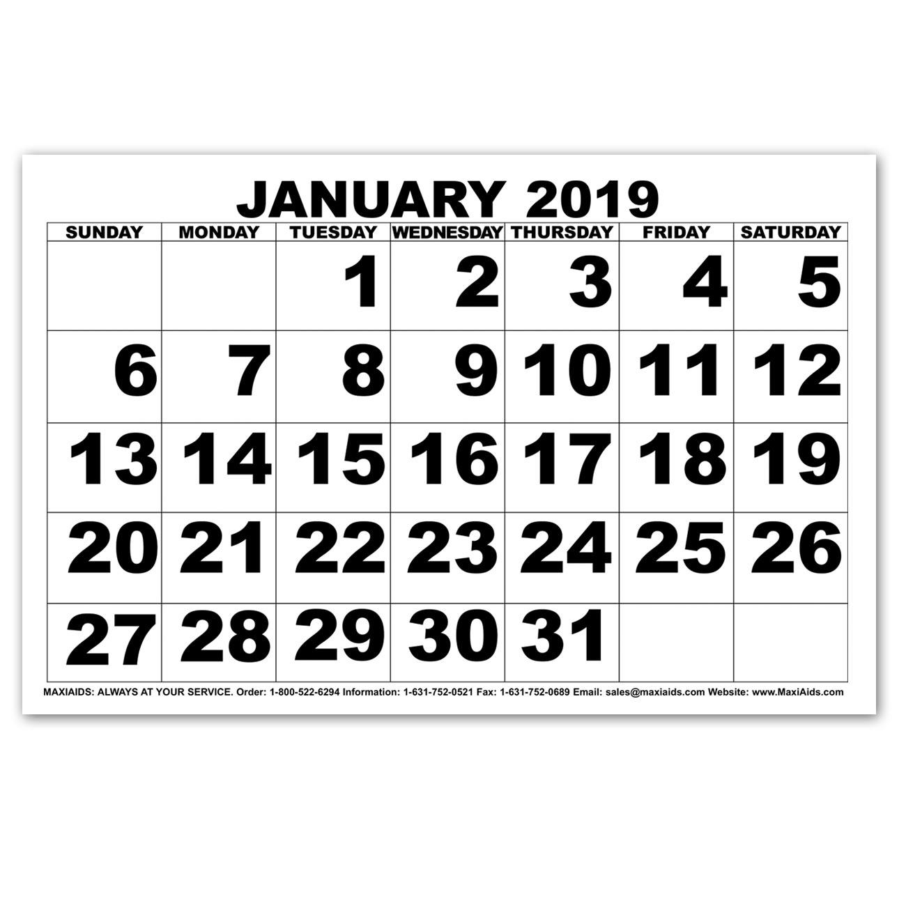 Low Vision Print Calendar - 2019