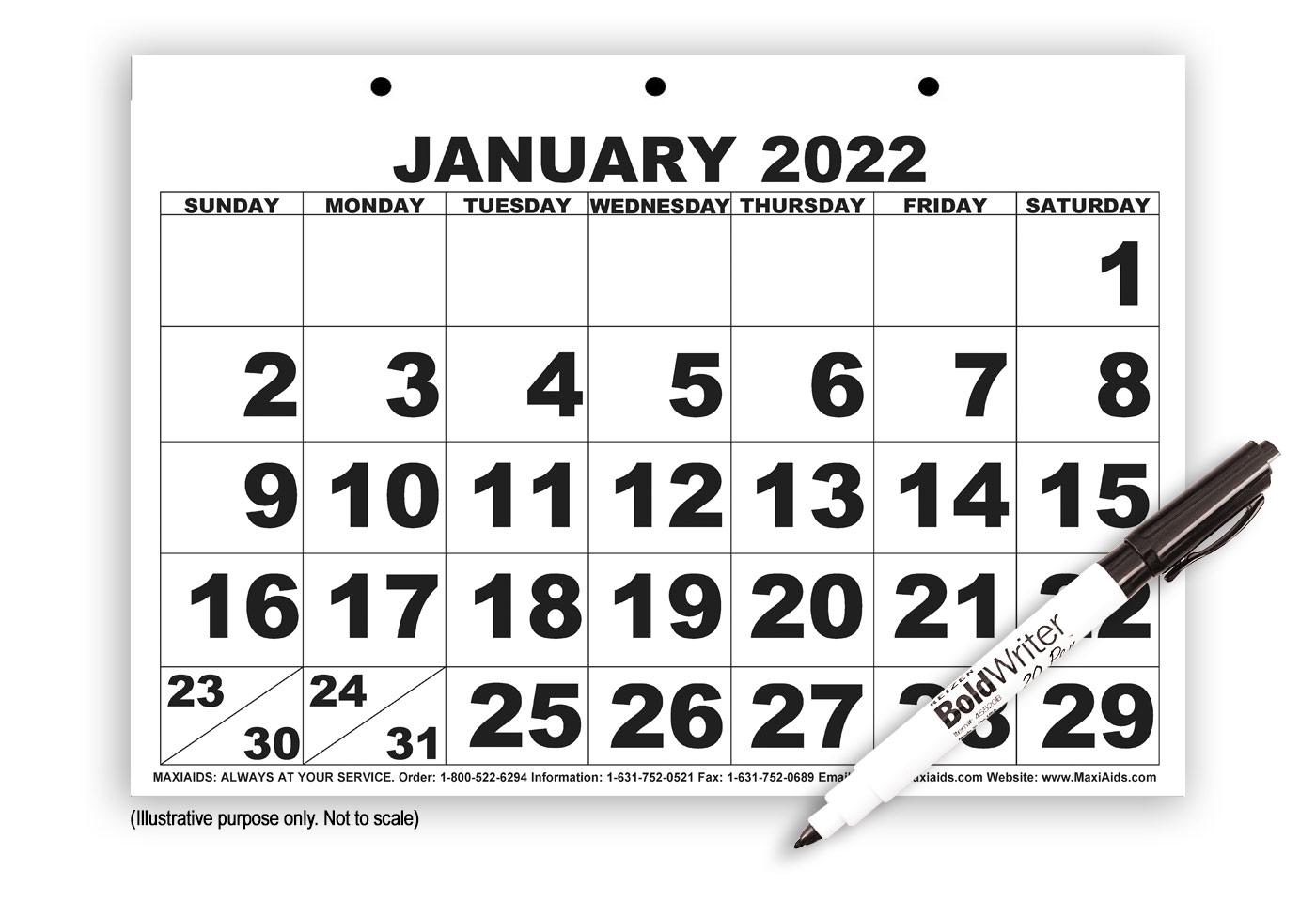 Low Vision Print Calendar with Pen- 2022