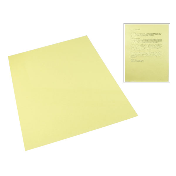 Yellow Tinted Plastic Reading Sheet