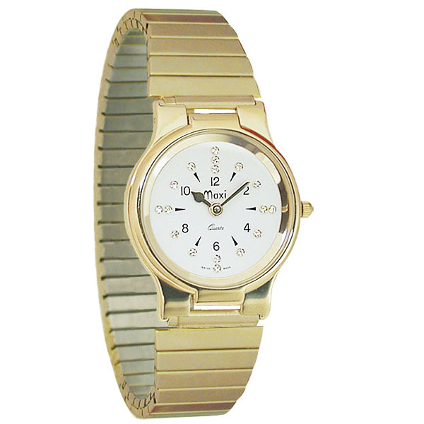Mens President Gold-Tone Quartz Braille Watch with Gold-Tone Expansion Band