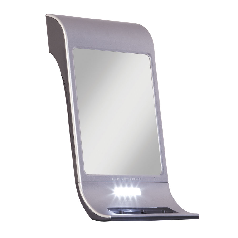 Z-Fogless Touch Water Mirror with Squeegee- Silver-Tone Finish