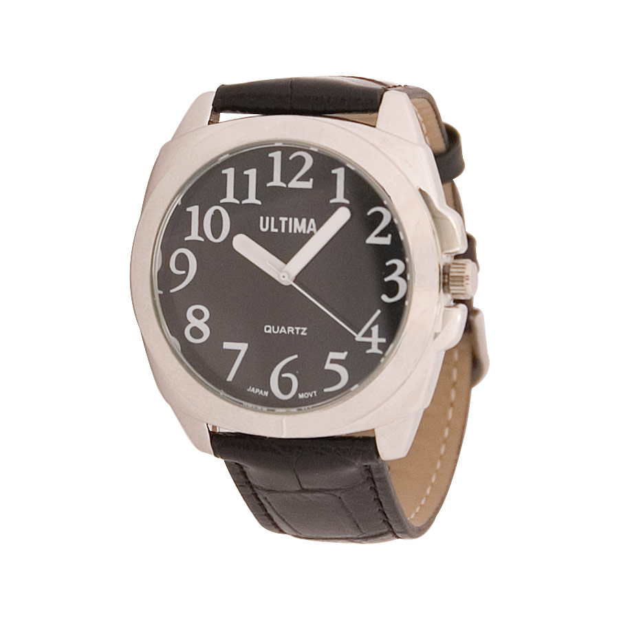 Ultima Low Vision Watch - Black Dial - Leather Band - Unisex  Easily t