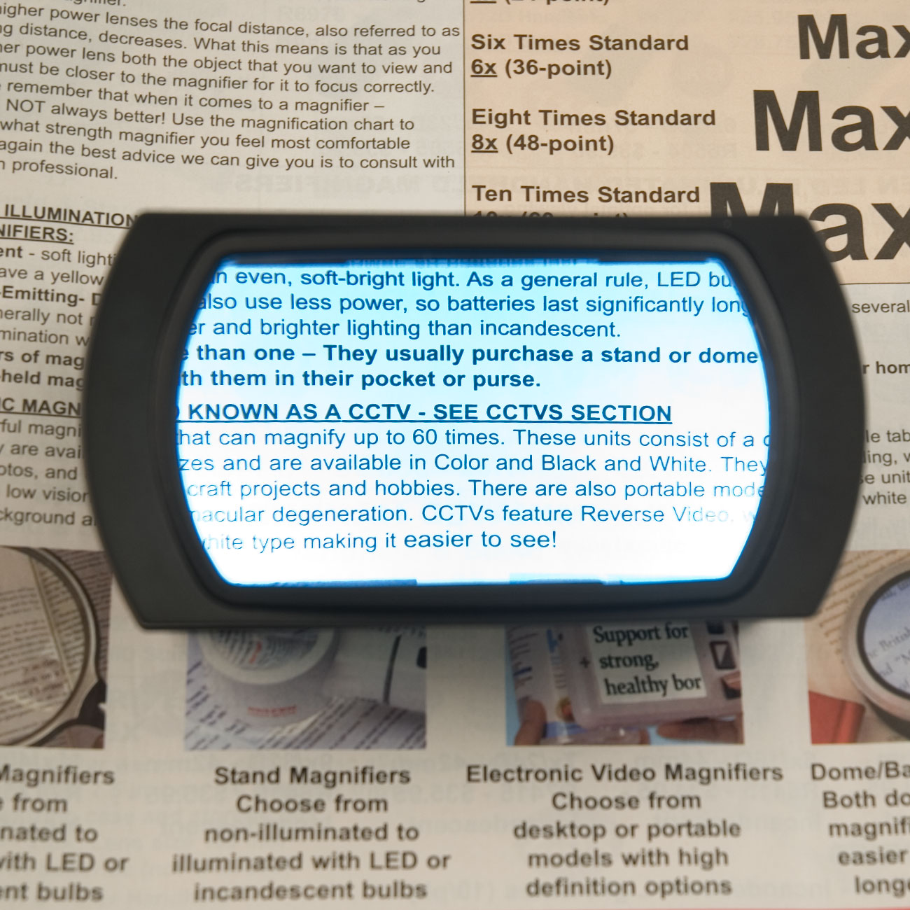 Reizen Hands-Free 2X Wide-View LED Magnifier