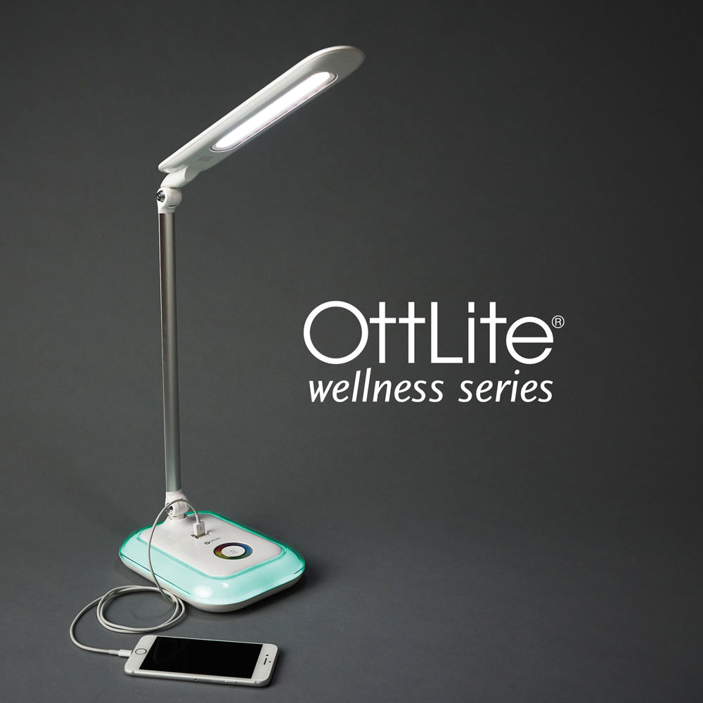 Ott-Lite Glow LED Desk Lamp with Color Changing Base - White