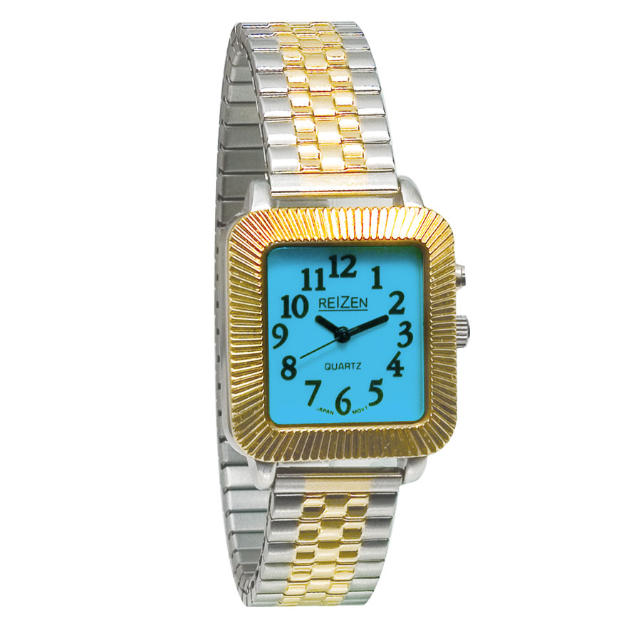 Reizen Unisex Glow-in-the-Dark Watch - Square Face with Expansion Band