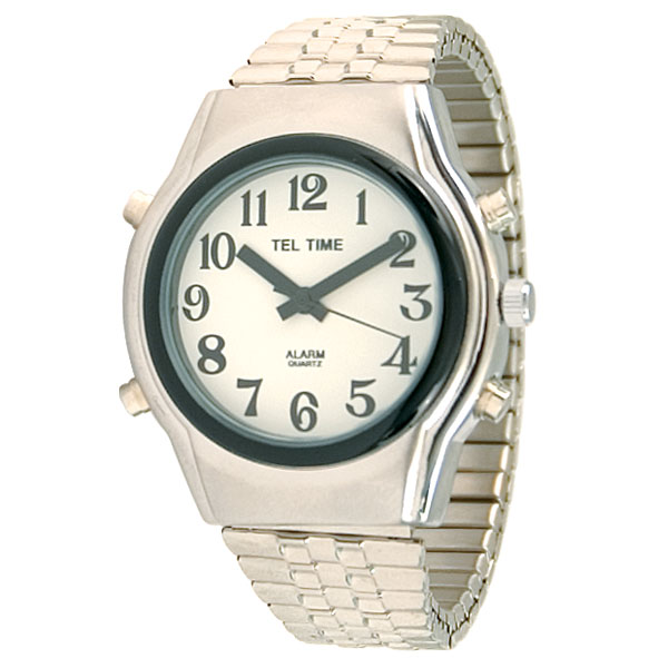 Tel-Time Mens Chrome Talking Watch - White Face, Expansion Band