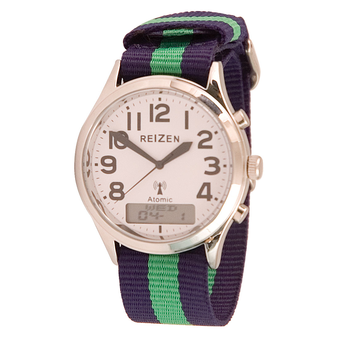 Reizen Low-Vision Ana-Digit Atomic Watch - Green-Blue Striped Band