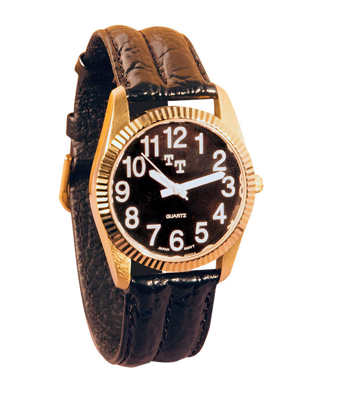 Mens Gold Low Vision Watch- Black Embossed Leather Band
